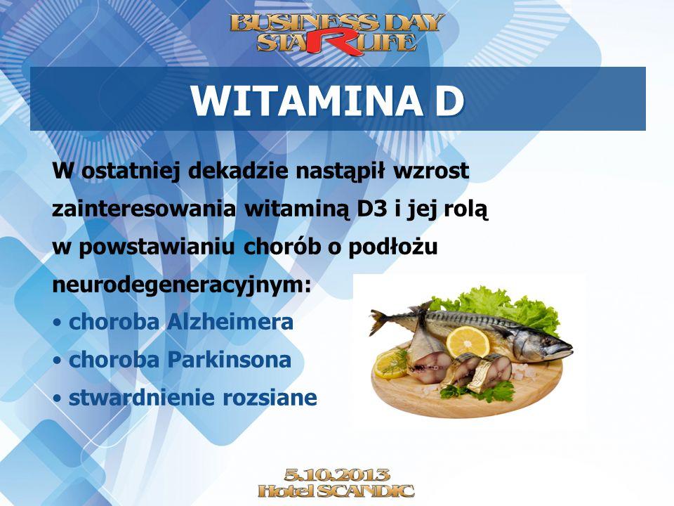 WITAMINA D W ostatniej dekadzie nastąpił wzrost zainteresowania witaminą D3 i jej rolą w powstawianiu chorób o podłożu neurodegeneracyjnym: