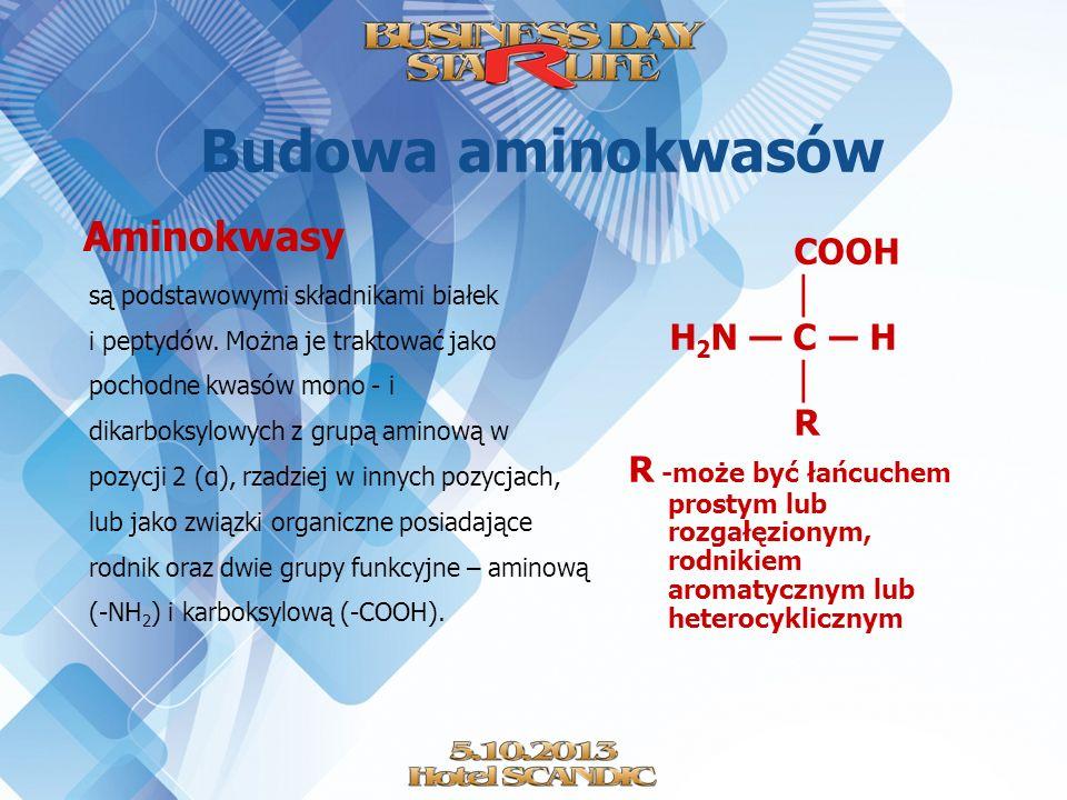 Budowa aminokwasów COOH │ H2N — C ― H R