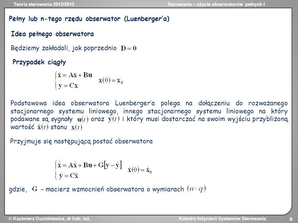 Pełny lub n-tego rzędu obserwator (Luenberger'a)