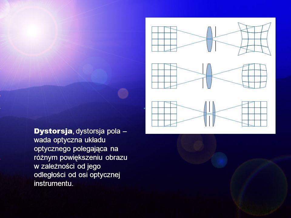 Dystorsja, dystorsja pola – wada optyczna układu optycznego polegająca na różnym powiększeniu obrazu w zależności od jego odległości od osi optycznej instrumentu.