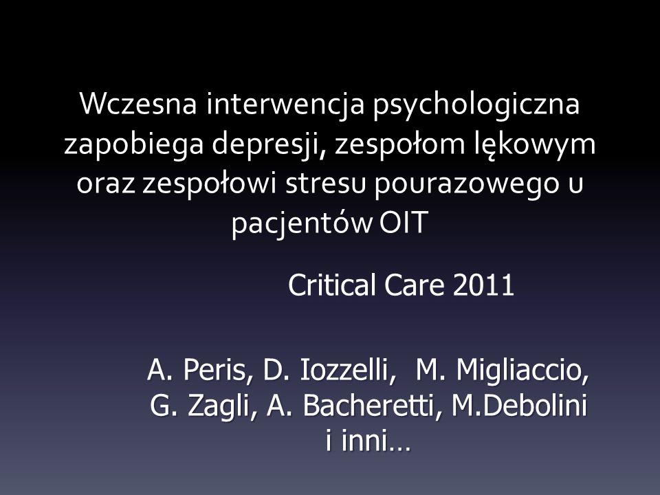 Wczesna interwencja psychologiczna zapobiega depresji, zespołom lękowym oraz zespołowi stresu pourazowego u pacjentów OIT