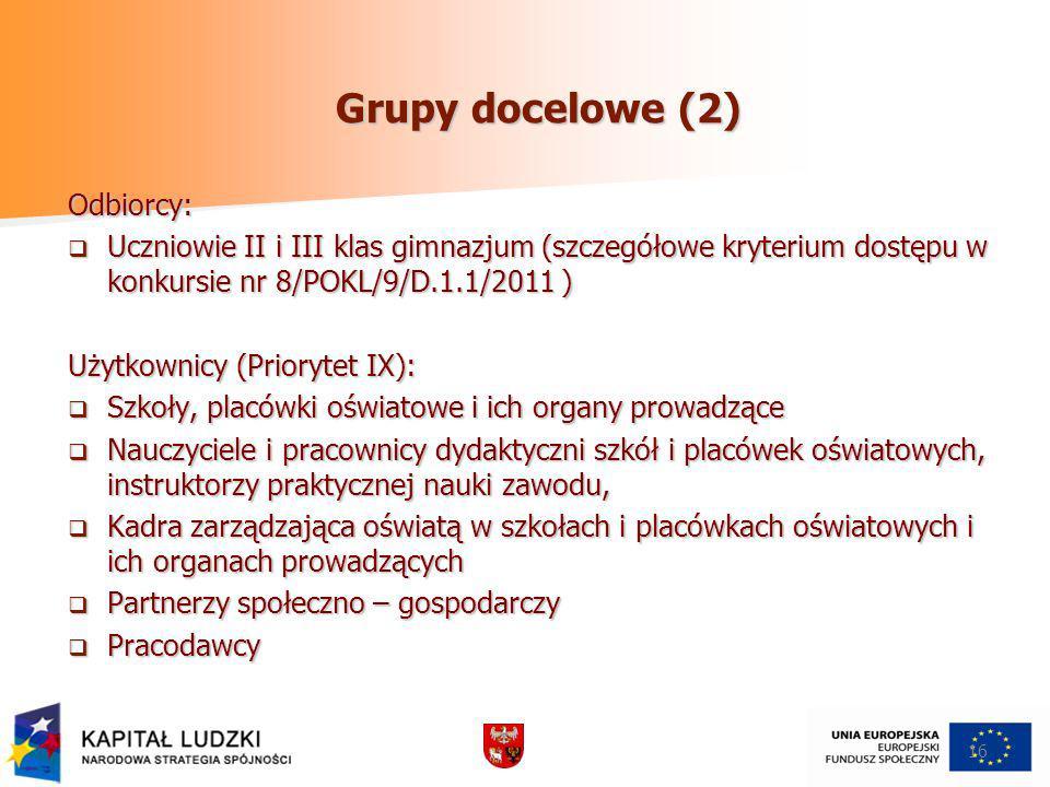 Grupy docelowe (2) Odbiorcy: