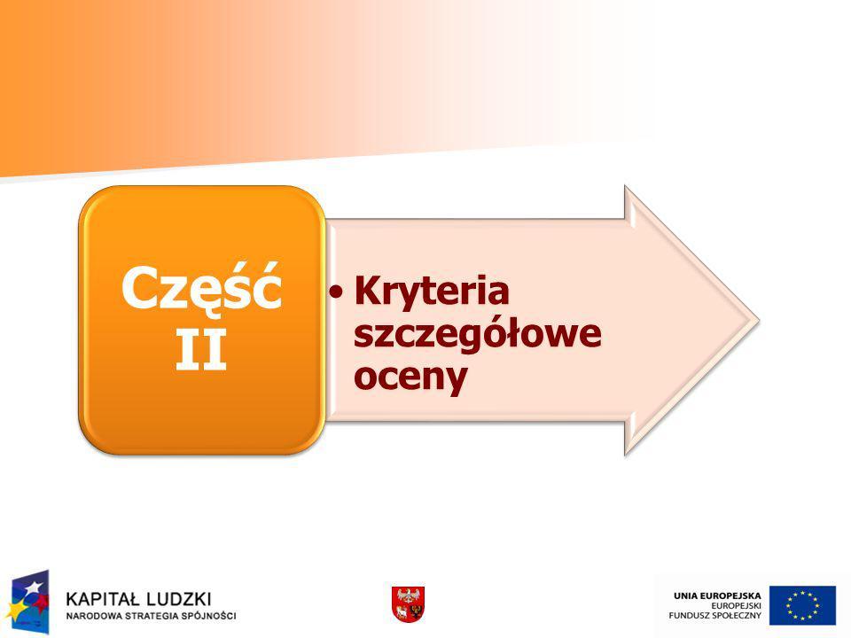 Część II Kryteria szczegółowe oceny