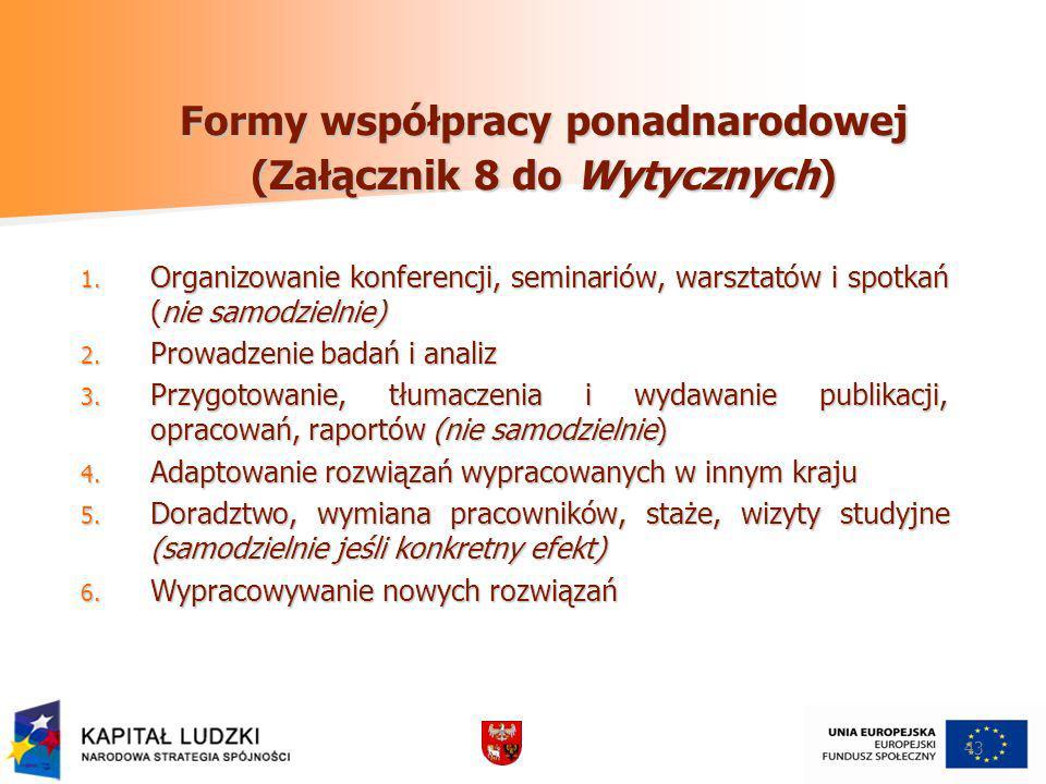 Formy współpracy ponadnarodowej (Załącznik 8 do Wytycznych)