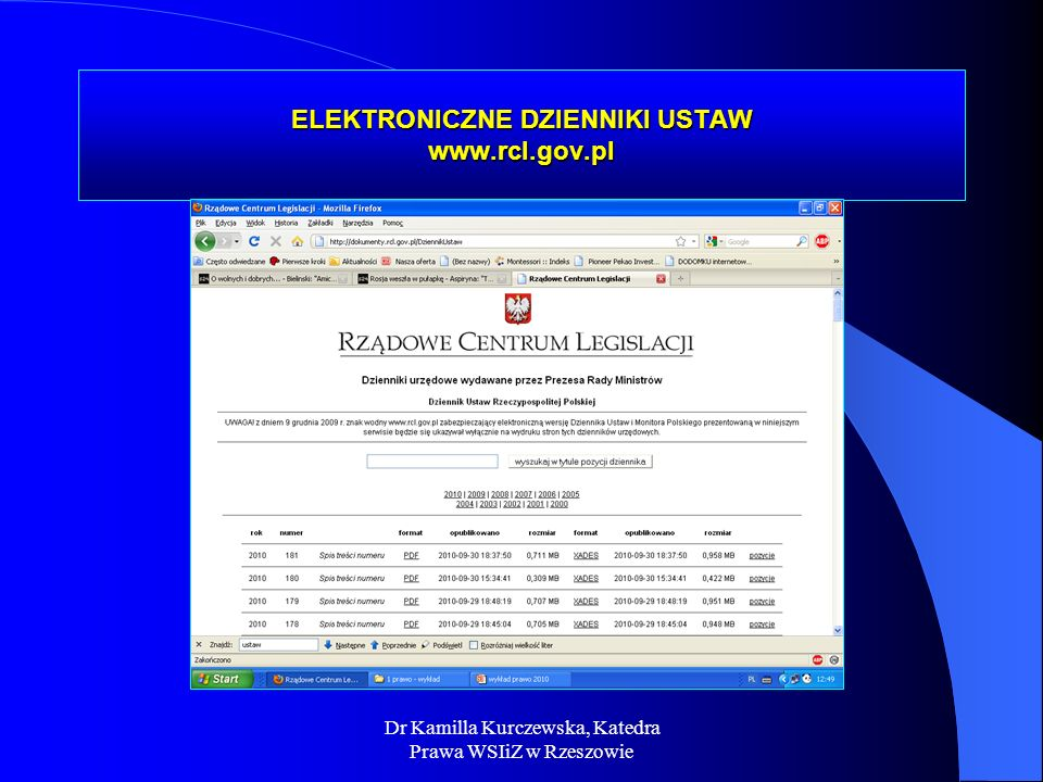 ELEKTRONICZNE DZIENNIKI USTAW www.rcl.gov.pl