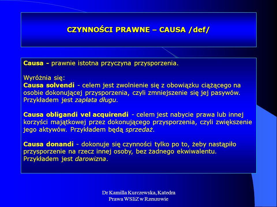 CZYNNOŚCI PRAWNE – CAUSA /def/