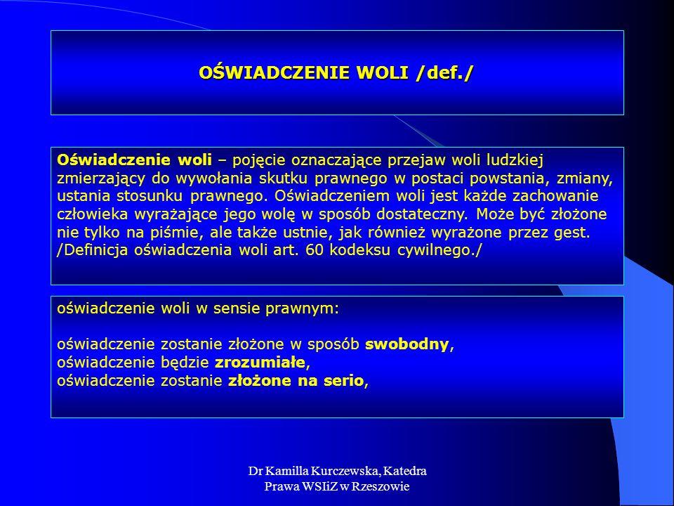 OŚWIADCZENIE WOLI /def./