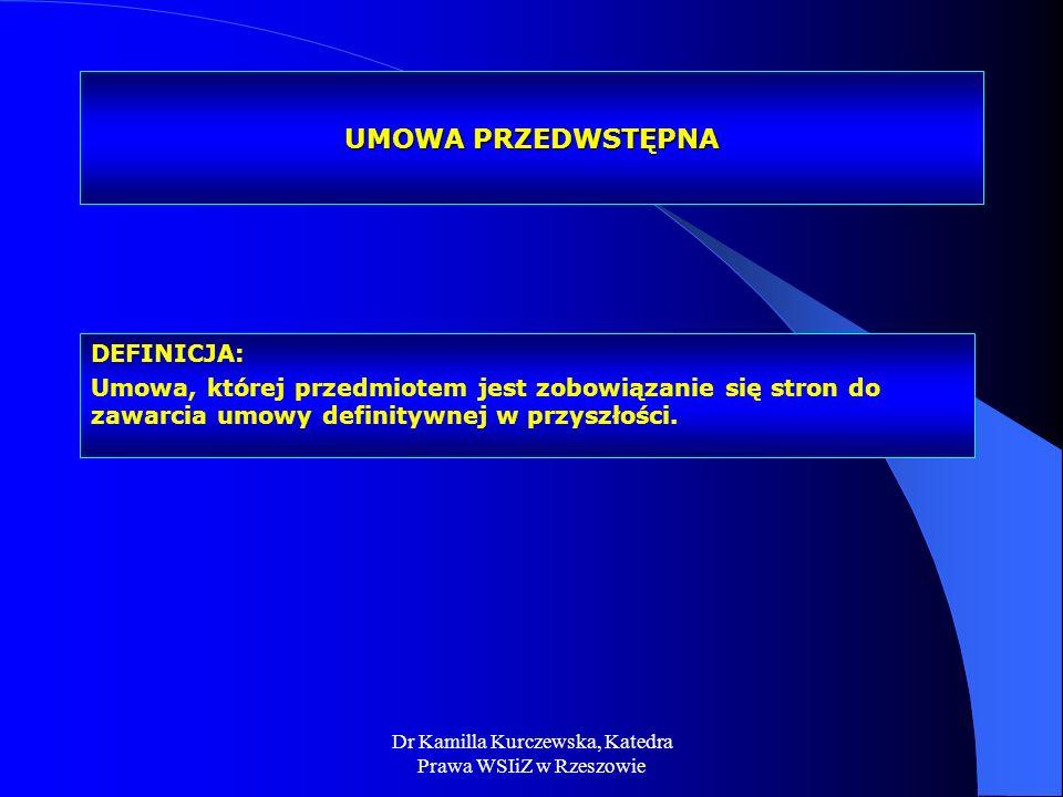 Dr Kamilla Kurczewska, Katedra Prawa WSIiZ w Rzeszowie