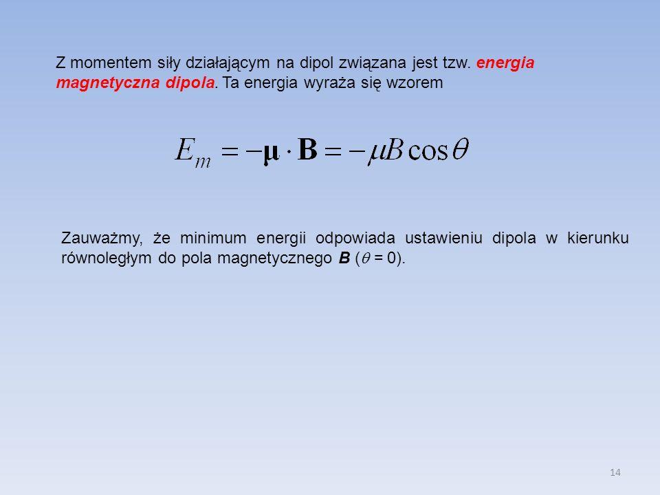 Z momentem siły działającym na dipol związana jest tzw