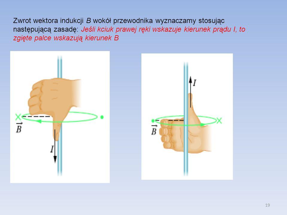Zwrot wektora indukcji B wokół przewodnika wyznaczamy stosując następującą zasadę: Jeśli kciuk prawej ręki wskazuje kierunek prądu I, to zgięte palce wskazują kierunek B