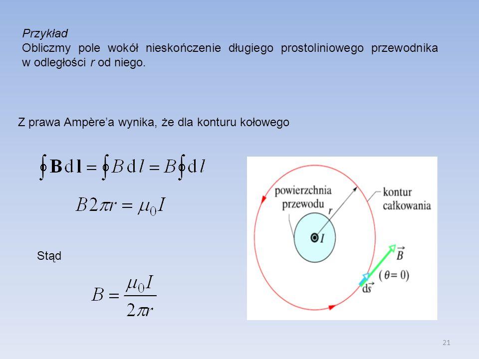 Przykład Obliczmy pole wokół nieskończenie długiego prostoliniowego przewodnika w odległości r od niego.