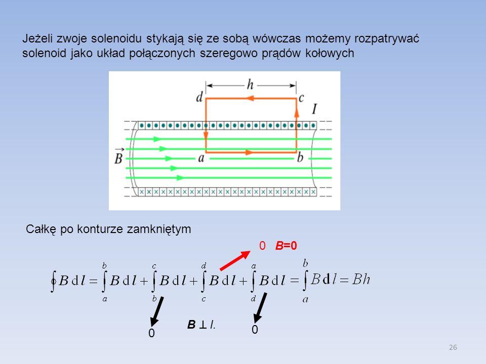 Jeżeli zwoje solenoidu stykają się ze sobą wówczas możemy rozpatrywać solenoid jako układ połączonych szeregowo prądów kołowych