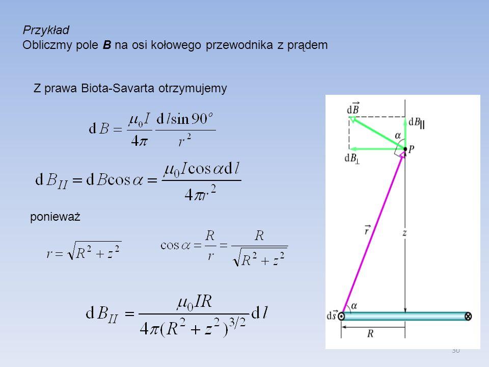 Przykład Obliczmy pole B na osi kołowego przewodnika z prądem.