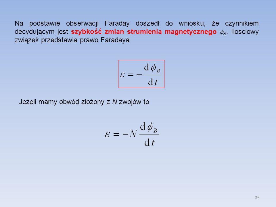 Na podstawie obserwacji Faraday doszedł do wniosku, że czynnikiem decydującym jest szybkość zmian strumienia magnetycznego B. Ilościowy związek przedstawia prawo Faradaya