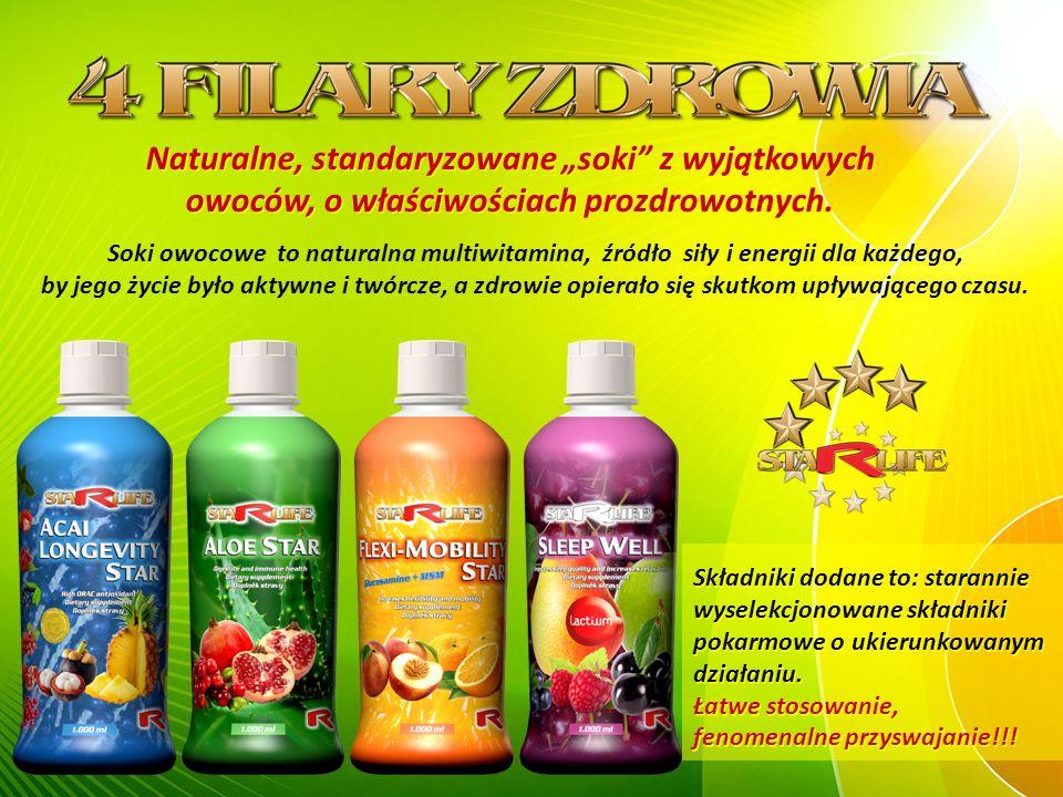 """Naturalne, standaryzowane """"soki z wyjątkowych owoców, o właściwościach prozdrowotnych."""