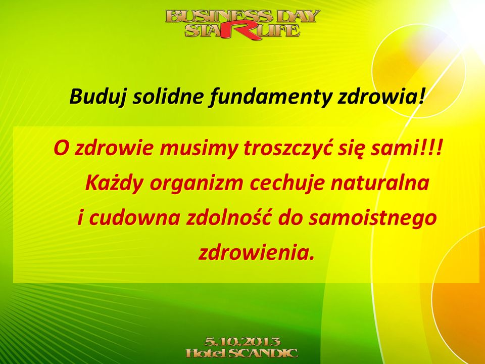 Buduj solidne fundamenty zdrowia!