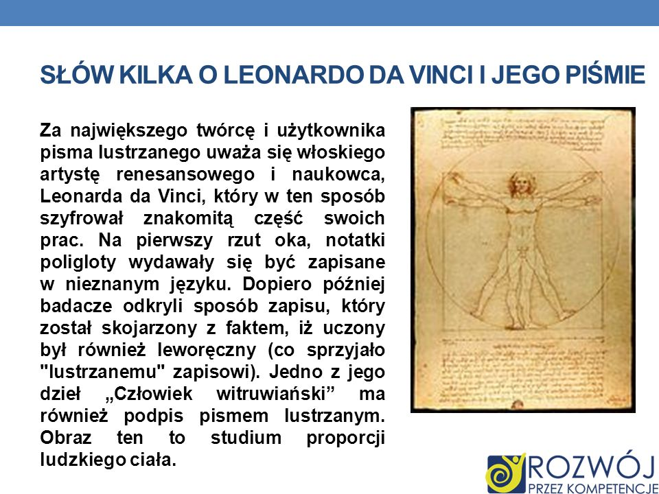 Słów kilka o leonardo da vinci i jego piśmie