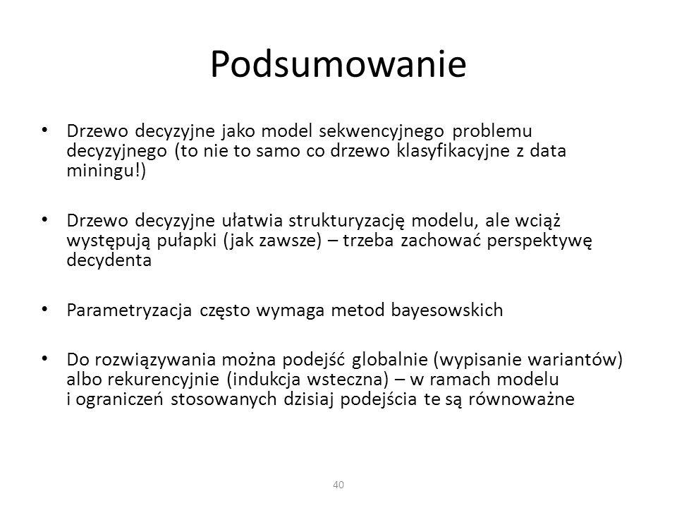 Podsumowanie Drzewo decyzyjne jako model sekwencyjnego problemu decyzyjnego (to nie to samo co drzewo klasyfikacyjne z data miningu!)