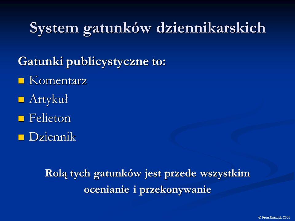 System gatunków dziennikarskich