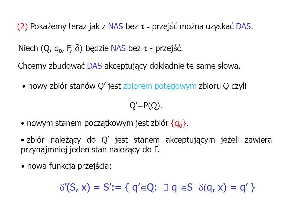 '(S, x) = S':= { q'Q:  q S (q, x) = q' }