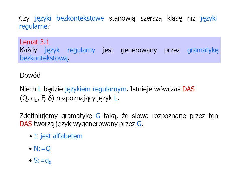 Czy języki bezkontekstowe stanowią szerszą klasę niż języki regularne