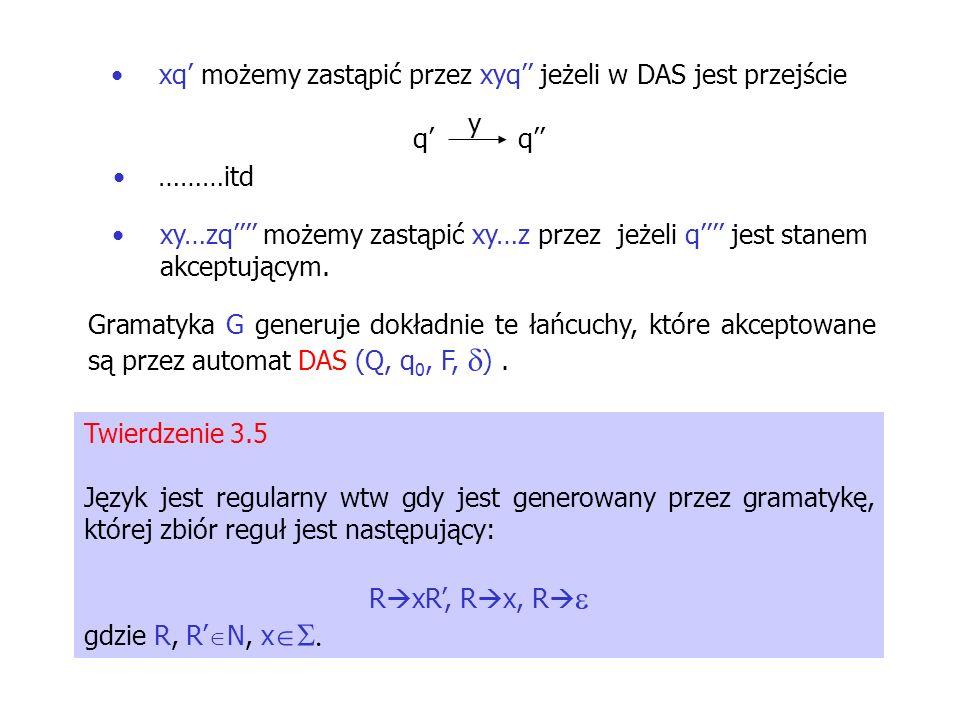 xq' możemy zastąpić przez xyq'' jeżeli w DAS jest przejście