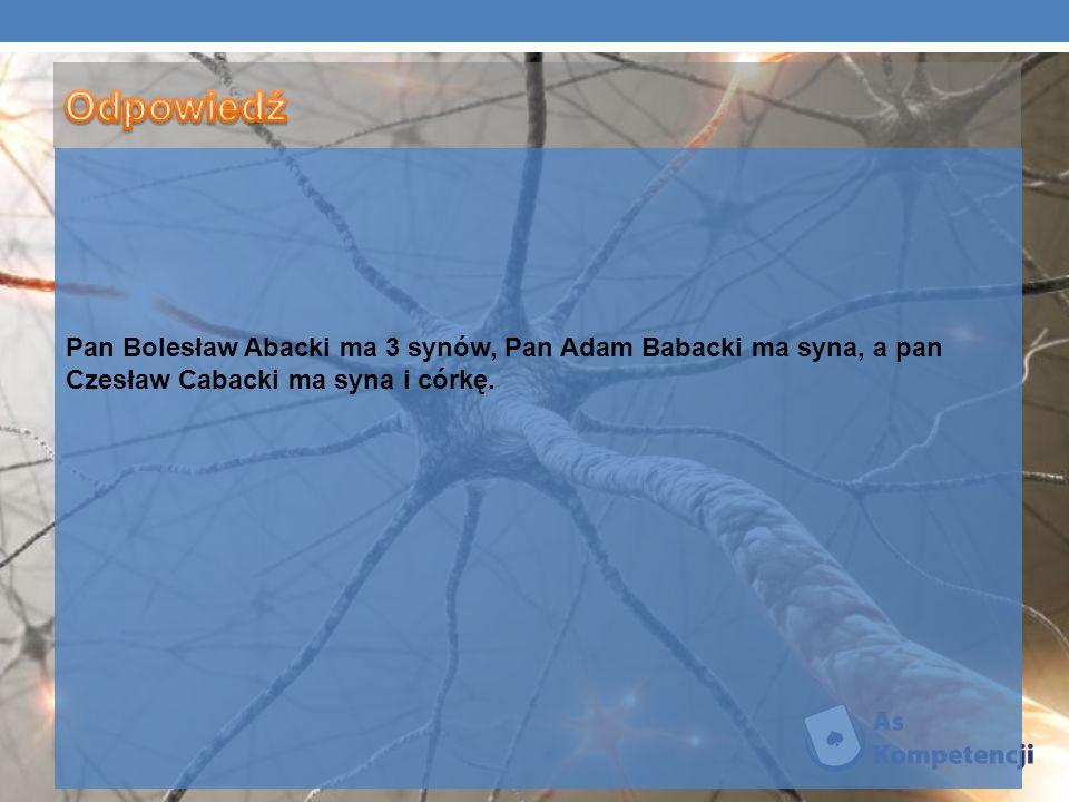 Odpowiedź Pan Bolesław Abacki ma 3 synów, Pan Adam Babacki ma syna, a pan Czesław Cabacki ma syna i córkę.