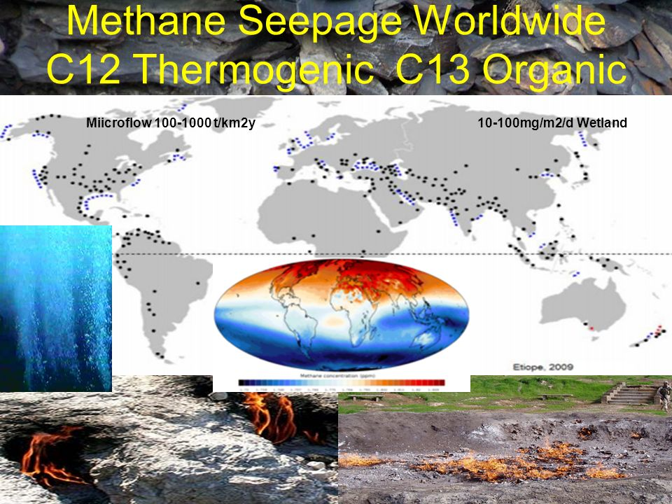 Methane Seepage Worldwide C12 Thermogenic C13 Organic