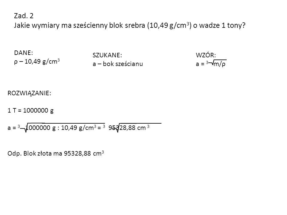 Jakie wymiary ma sześcienny blok srebra (10,49 g/cm3) o wadze 1 tony
