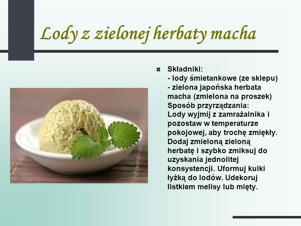 Lody z zielonej herbaty macha