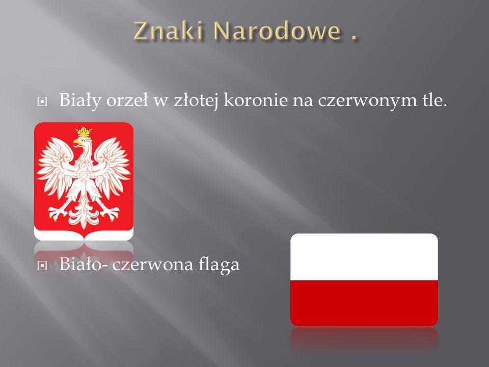 Znaki Narodowe . Biały orzeł w złotej koronie na czerwonym tle.