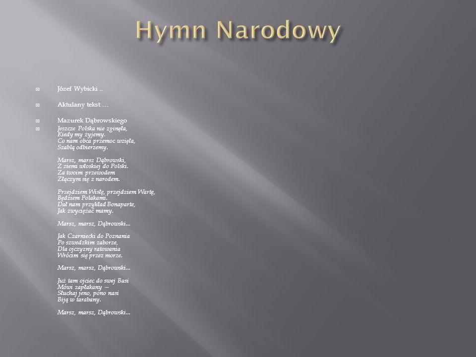 Hymn Narodowy Józef Wybicki .. Aktulany tekst … Mazurek Dąbrowskiego