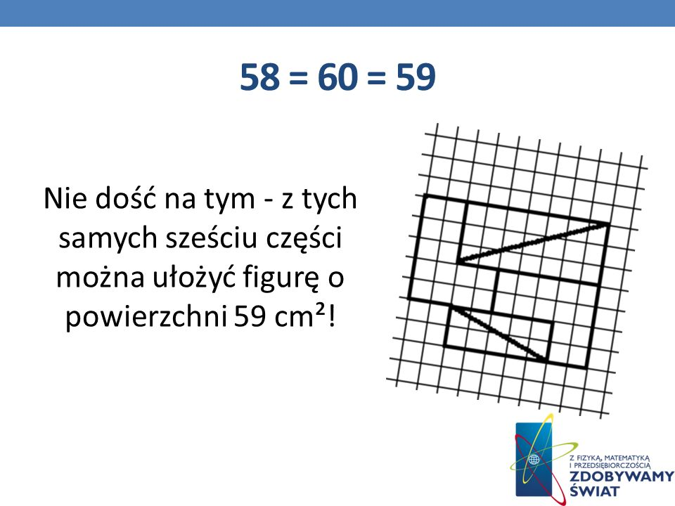 58 = 60 = 59 Nie dość na tym - z tych samych sześciu części można ułożyć figurę o powierzchni 59 cm²!