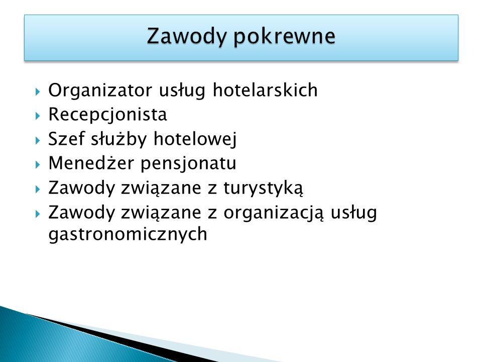Zawody pokrewne Organizator usług hotelarskich Recepcjonista
