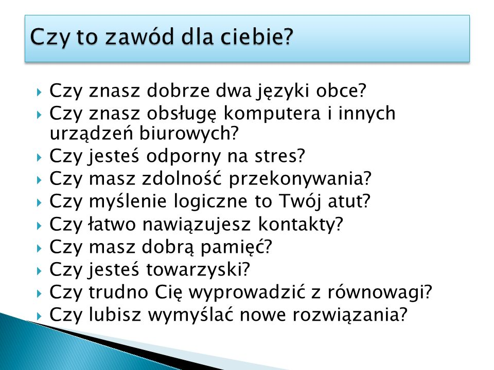 Czy to zawód dla ciebie Czy znasz dobrze dwa języki obce