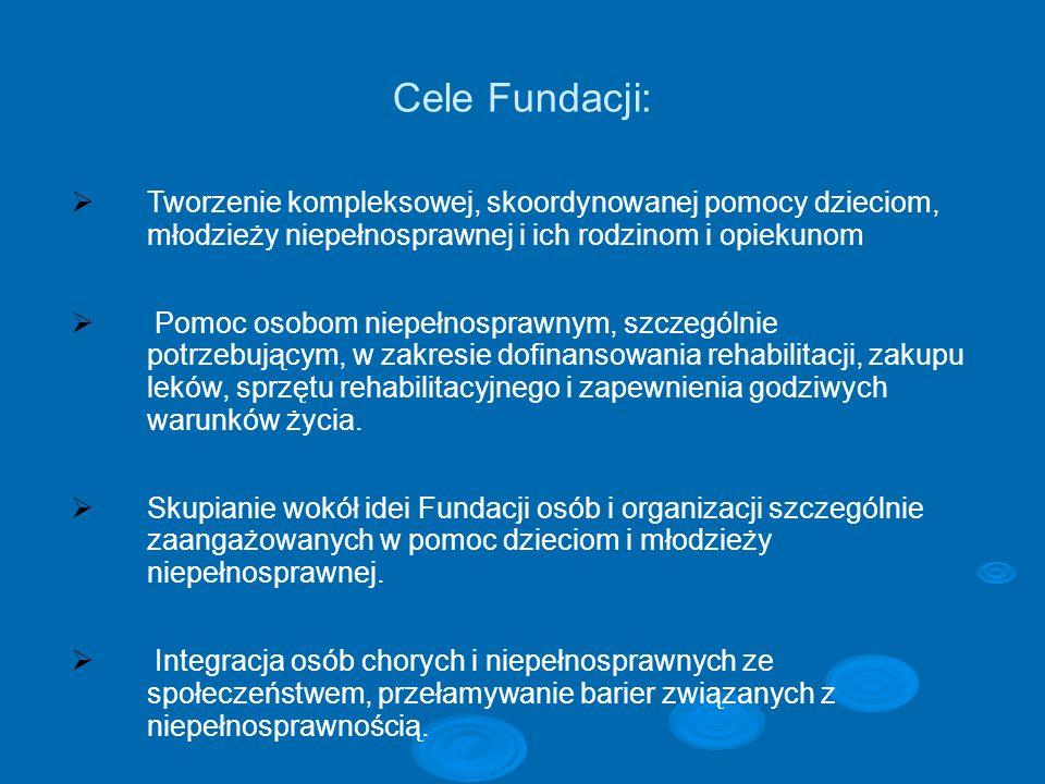 Cele Fundacji: Tworzenie kompleksowej, skoordynowanej pomocy dzieciom, młodzieży niepełnosprawnej i ich rodzinom i opiekunom.