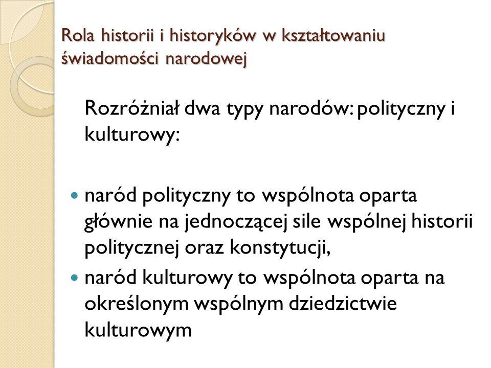 Rozróżniał dwa typy narodów: polityczny i kulturowy: