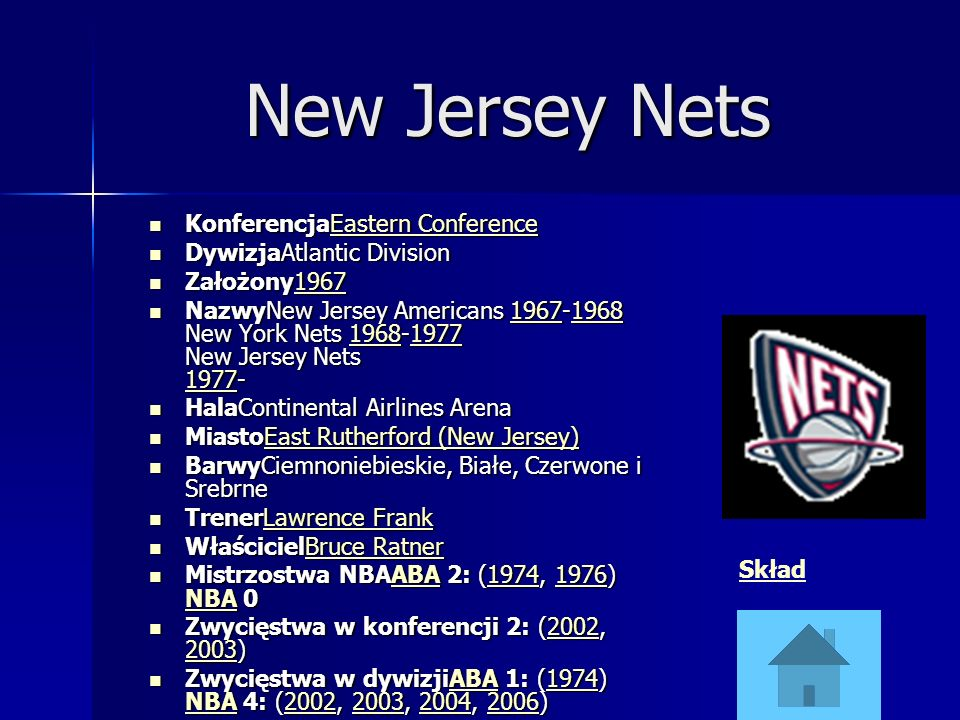 New Jersey Nets KonferencjaEastern Conference DywizjaAtlantic Division