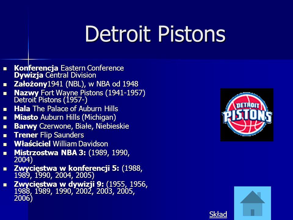 Detroit Pistons Konferencja Eastern Conference Dywizja Central Division. Założony1941 (NBL), w NBA od 1948.