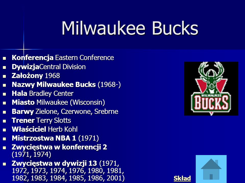 Milwaukee Bucks Konferencja Eastern Conference DywizjaCentral Division