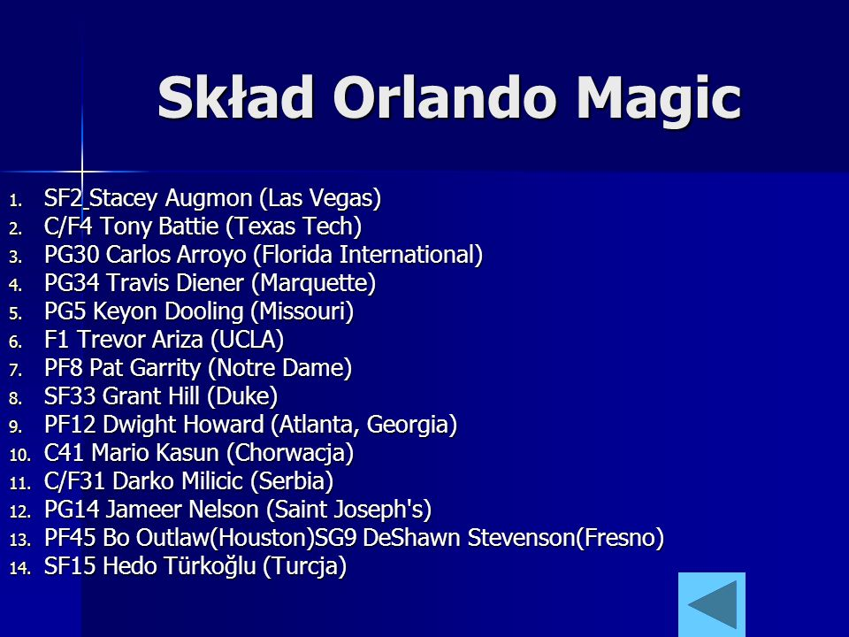 Skład Orlando Magic SF2 Stacey Augmon (Las Vegas)
