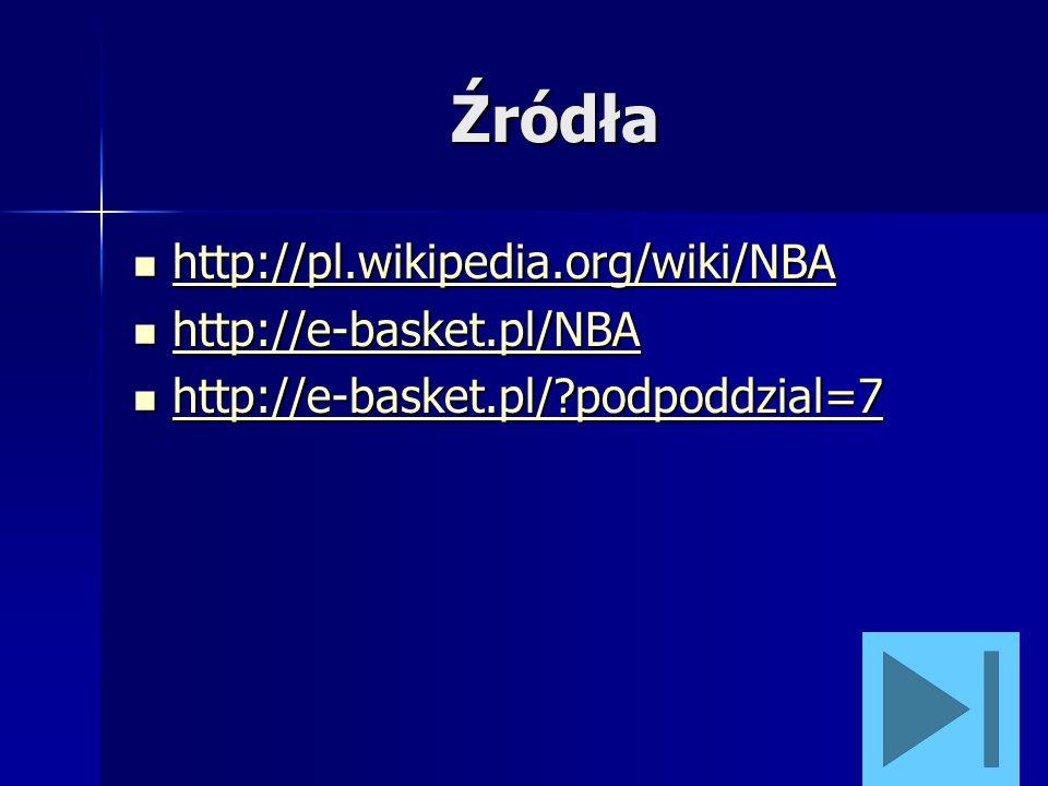 Źródła http://pl.wikipedia.org/wiki/NBA http://e-basket.pl/NBA