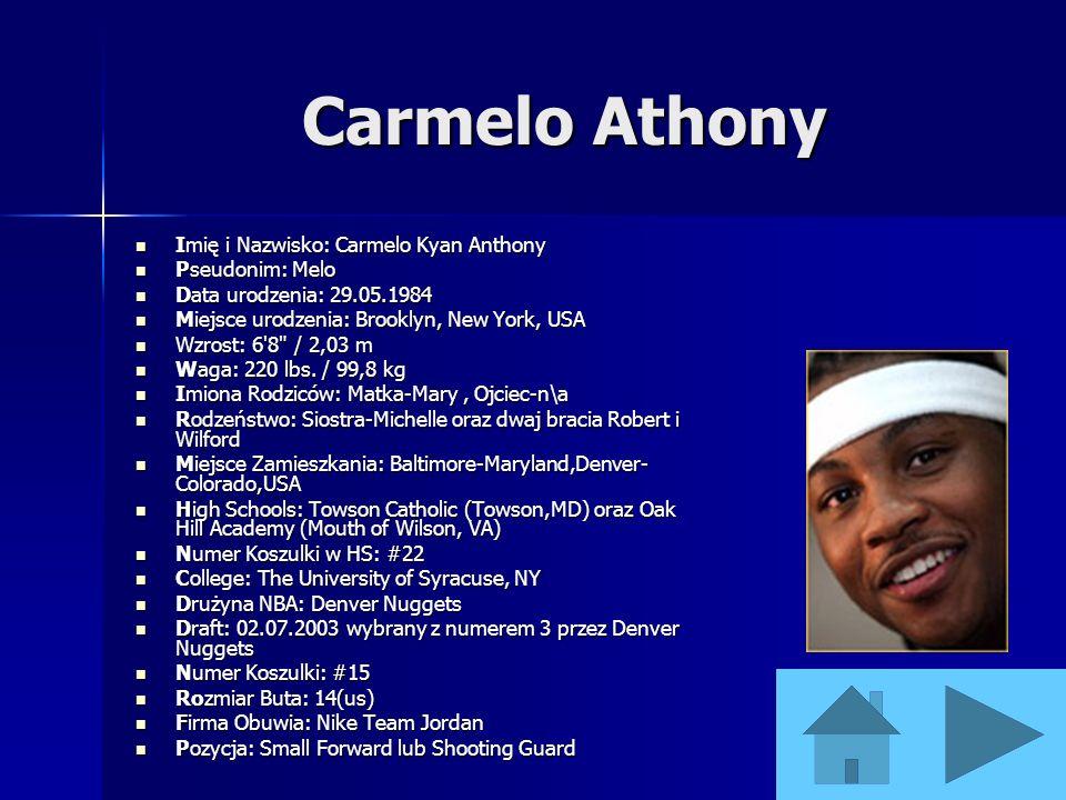 Carmelo Athony Imię i Nazwisko: Carmelo Kyan Anthony Pseudonim: Melo