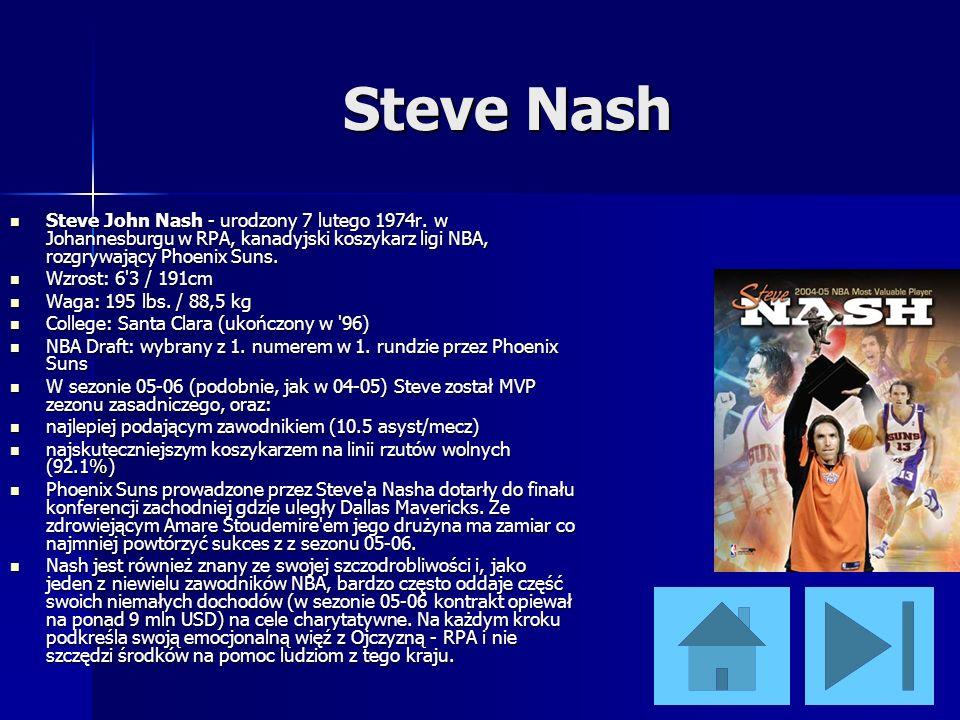 Steve Nash Steve John Nash - urodzony 7 lutego 1974r. w Johannesburgu w RPA, kanadyjski koszykarz ligi NBA, rozgrywający Phoenix Suns.