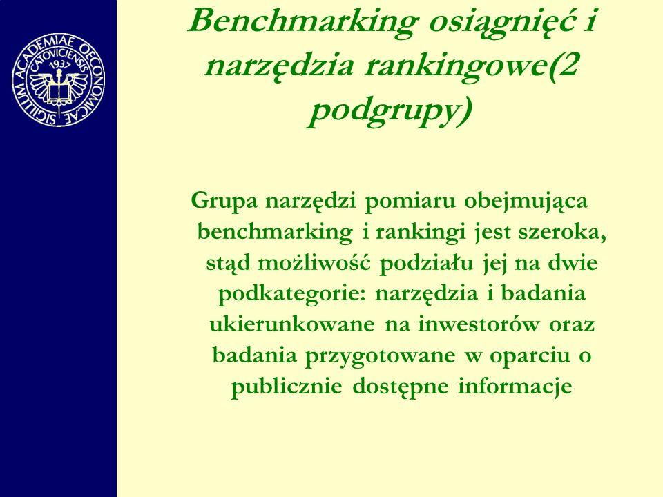 Benchmarking osiągnięć i narzędzia rankingowe(2 podgrupy)