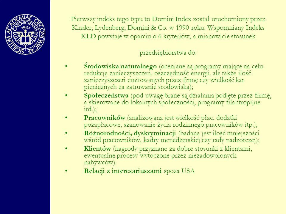Pierwszy indeks tego typu to Domini Index został uruchomiony przez Kinder, Lydenberg, Domini & Co. w 1990 roku. Wspomniany Indeks KLD powstaje w oparciu o 6 kryteriów, a mianowicie stosunek przedsiębiorstwa do: