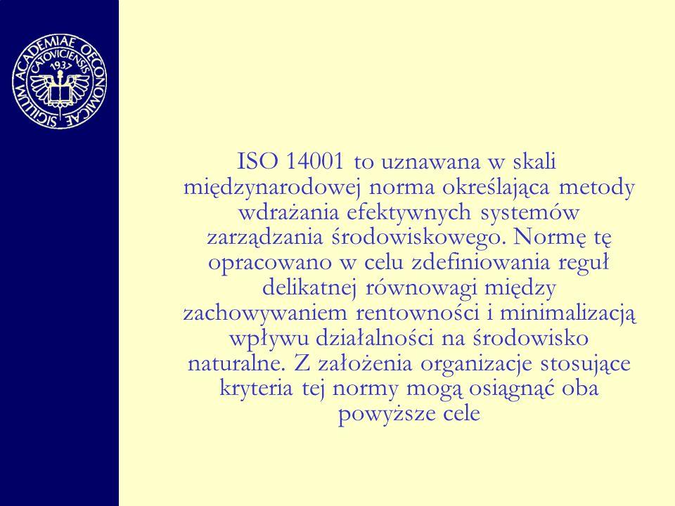 ISO 14001 to uznawana w skali międzynarodowej norma określająca metody wdrażania efektywnych systemów zarządzania środowiskowego.