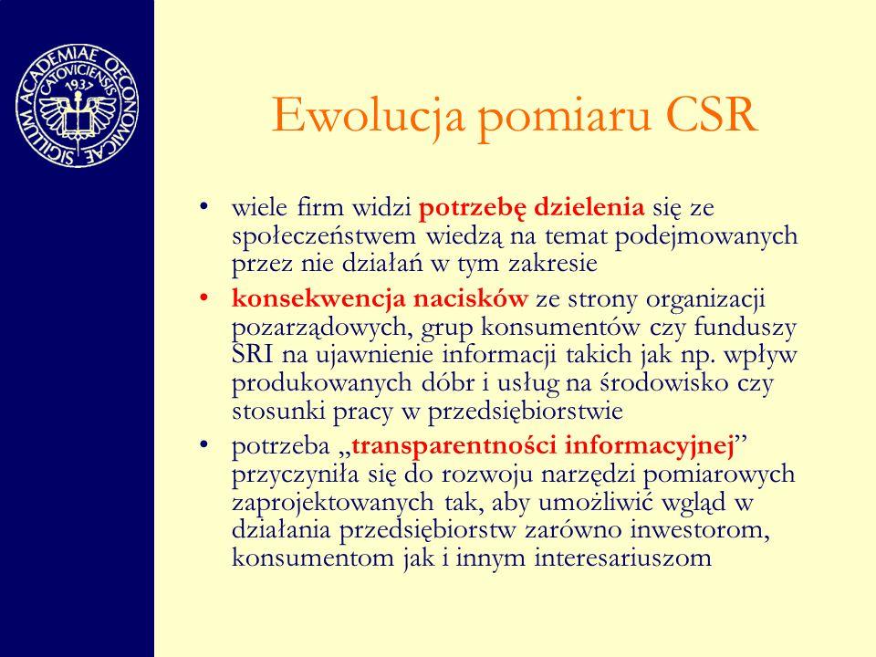 Ewolucja pomiaru CSR wiele firm widzi potrzebę dzielenia się ze społeczeństwem wiedzą na temat podejmowanych przez nie działań w tym zakresie.