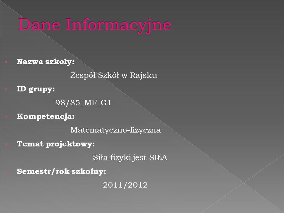 Dane Informacyjne Nazwa szkoły: Zespół Szkół w Rajsku ID grupy: