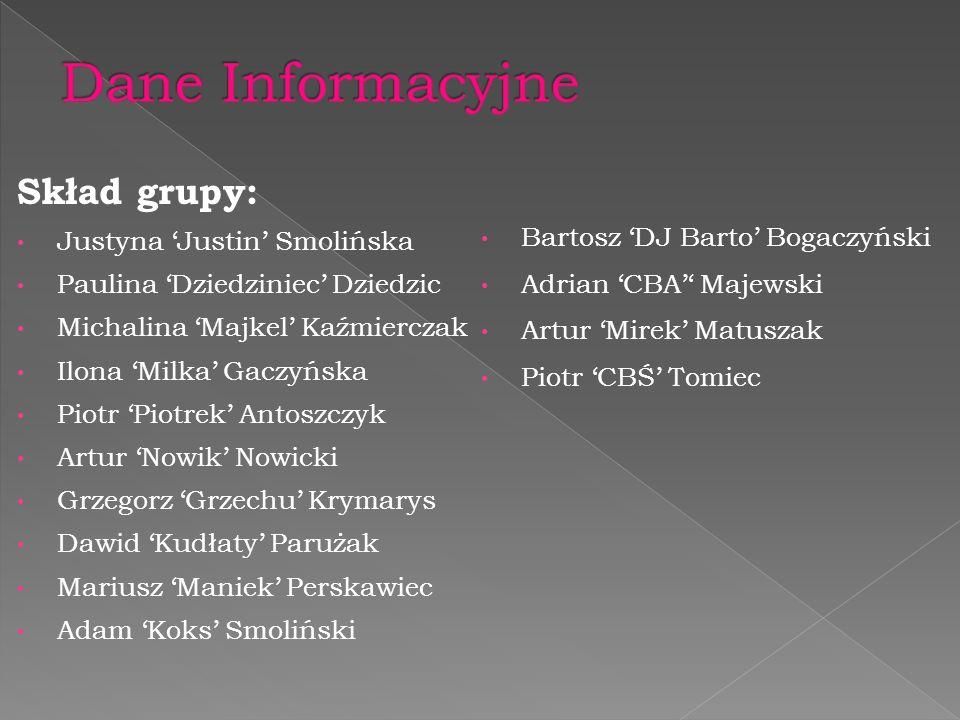 Dane Informacyjne Skład grupy: Justyna 'Justin' Smolińska